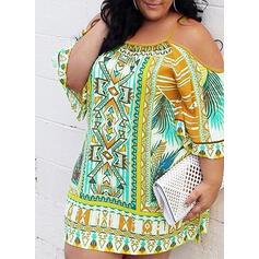 プラスサイズ 印刷 3/4袖 シフトドレス 膝上 生きます カジュアル 休暇 ドレス