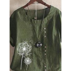 Potisk Kulatý Výstřih Krátké rukávy Neformální Bluze