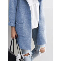 Solid Lommer Lapel Casual Cardigan