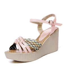 Women's PVC Wedge Heel Sandals Wedges Peep Toe Slingbacks With Braided Strap shoes