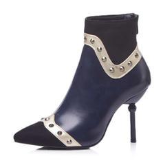 Femmes Similicuir Talon stiletto Bottes Bottes mi-mollets avec Rivet chaussures