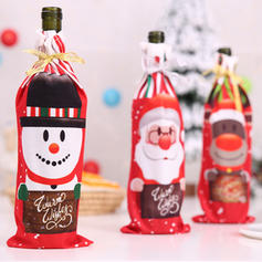 Merry Christmas Snowman Reindeer Santa Cloth Bottle Cover