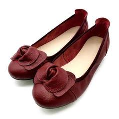 Femmes Vrai cuir Talon plat Chaussures plates avec Une fleur chaussures