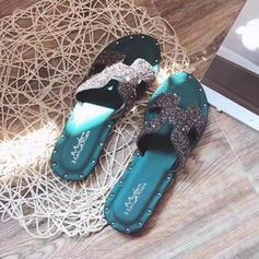 Femmes PVC Talon plat Sandales Chaussures plates avec Brodé chaussures