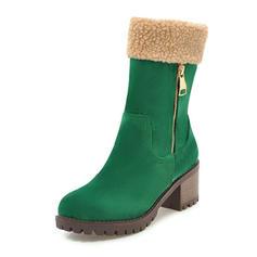 Femmes Similicuir Talon bottier Bottes Bottes mi-mollets avec Zip chaussures