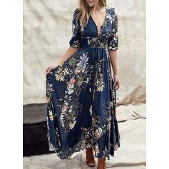 Impresión/Floral Mangas 1/2 Acampanado Casual/Elegante/Vacaciones Maxi Vestidos