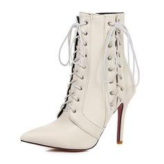 Femmes Similicuir Talon stiletto Escarpins Bottes Martin bottes avec Dentelle chaussures