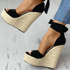 Women's PU Wedge Heel Sandals Wedges Peep Toe With Lace-up shoes