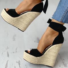 ПУ Танкетка Сандалі Танкетка взуття на короткій шпильці з Зашнурувати взуття