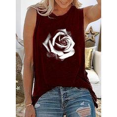Estampado Floral Gola Redonda Sem Mangas Casual Camisetas regata
