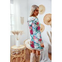 Impresión/Floral Manga Larga Vestidos sueltos Sobre la Rodilla Casual Túnica Vestidos
