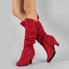 Women's Suede Chunky Heel Pumps Boots With Zipper shoes