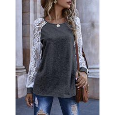 Lace Solid Round Neck Long Sleeves Sweatshirt