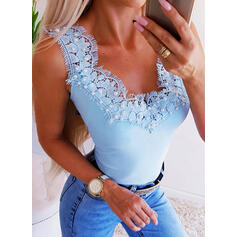 Patchwork Lace V-Neck Sleeveless Casual Sexy Tank Tops
