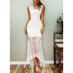 Lace/Solid Cap Sleeve Sheath Party/Elegant Maxi Dresses
