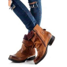 Frauen Kunstleder Niederiger Absatz Stiefel mit Reißverschluss Schuhe