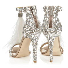 ПУ Шпилька Сандалі взуття на короткій шпильці з Сіяючі камені Блискавка взуття
