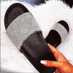 Női PU Lapos sarok Papucs -Val Hegyikristály cipő