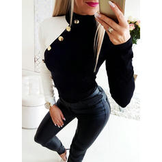 Barevný blok Stojáček Dlouhé rukávy Neformální Bluze