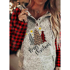 Grid Leopard Figure Pockets Long Sleeves Christmas Sweatshirt