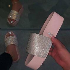 Frauen PU Flascher Absatz Pantoffel Schuhe