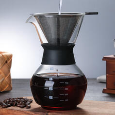Modern Elegant Glass Coffee Pot With Filter Basket