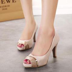 Women's Leatherette Stiletto Heel Peep Toe Pumps Sandals With Split Joint