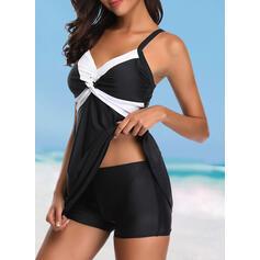 Spleiß Farbe Träger Elegant Lässige Kleidung Badekleider Bademode