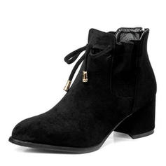Femmes Suède Talon bottier Escarpins Bottes Martin bottes avec Dentelle chaussures