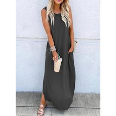 Solid Sleeveless Shift Casual Maxi Dresses