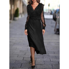 Sequins/Solid Long Sleeves A-line Skater Little Black/Casual/Elegant Midi Dresses