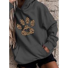 Stampato Animale leopardo tasche Maniche lunghe con cappuccio