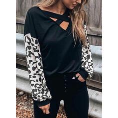 Leopard V-Neck Lantern Sleeve Long Sleeves Casual Blouses