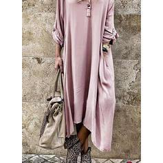 Solid Lange ermer Kvinnedrakt Asymmetrisk Casual Kjoler