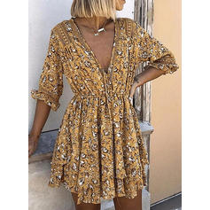 Print/Floral 1/2 Sleeves A-line Above Knee Casual/Boho/Vacation Skater Dresses