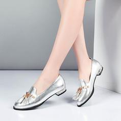 Femmes PVC Talon plat Chaussures plates Bout fermé avec Chaîne Tassel chaussures