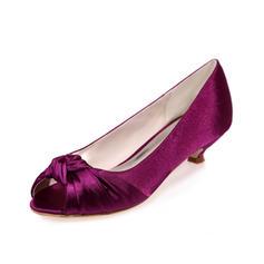 Women's Satin Kitten Heel Peep Toe Sandals