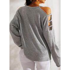Print Pailletten Hart Cold Shoulder Lange Mouwen Casual Overhemd