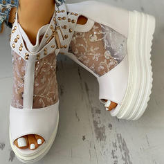 Women's Mesh PU Wedge Heel Sandals Peep Toe With Rivet Buckle Hollow-out shoes