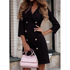 Solid 3/4 Sleeves Bodycon Above Knee Casual Dresses