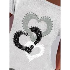 Potisk Inima Jedno rameno Krátké rukávy Neformální Bluze