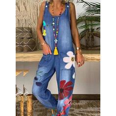 Floral Print Round Neck Sleeveless Casual Denim Jumpsuit