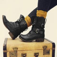 Donna PU Tacco basso Tacco spesso Martin boots con Fibbia scarpe