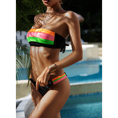 Splice color Lace Up Off the Shoulder Attractive Eye-catching Amazing Bikinis Swimsuits