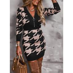 Print Long Sleeves Bodycon Above Knee Casual/Elegant Dresses