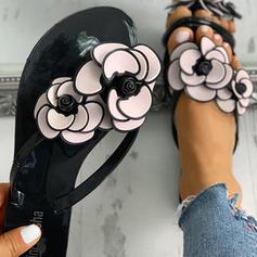 Donna PVC Senza tacco Sandalo Infradito Ciabatte con Fiore scarpe