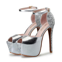 Women's Leatherette Sparkling Glitter Stiletto Heel Sandals Pumps Platform Peep Toe With Buckle shoes