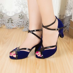 Women's Latin Heels Sandals Suede With Ankle Strap Latin