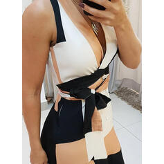 Geometric Print Sleeveless A-line Wrap/Skater Elegant Midi Dresses