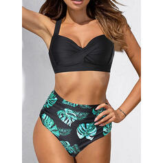 Print Ruffles Halter Sexy Cute Bikinis Swimsuits